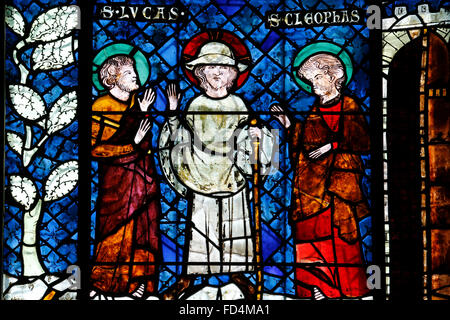 Our Lady of Strasbourg Cathedral. Stained glass window, 19th century. Jesus and the disciples of Emmaus. - Stock Photo