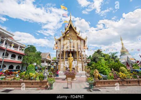 Exterior shot of Wat Buppharam, Chiang Mai, Thailand - Stock Photo