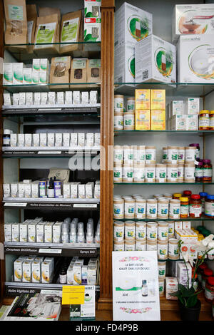 Drugstore. Essential oils and dietary supplements. - Stock Photo