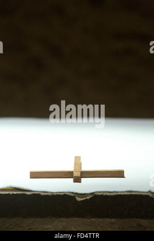 Cross on an altar. Taize Community. - Stock Photo