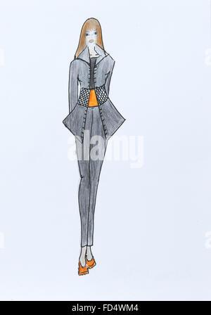 Fashion Designer Women Draw Dress Layout On Fabric Stock Photo 156353815 Alamy