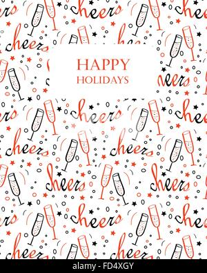 Christmas background with Cheers lettering and glasses with champagne. Hand drawn design for winter holidays. Seamless - Stock Photo