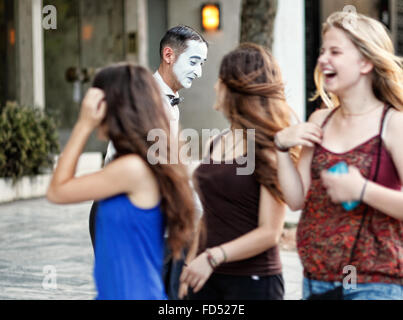 A mime performs in the streets of Athens, Greece - Stock Photo
