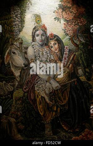 Painting in the London ISKCON hindu temple : Krishna and Rada - Stock Photo