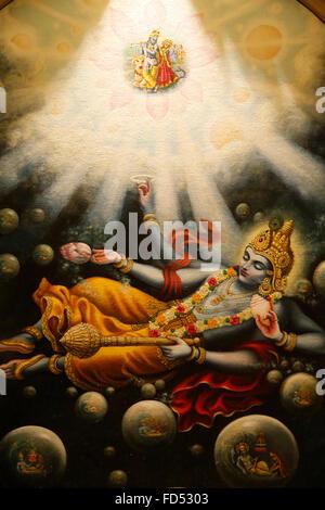Painting in the London ISKCON hindu temple : Mahavishnu - Stock Photo