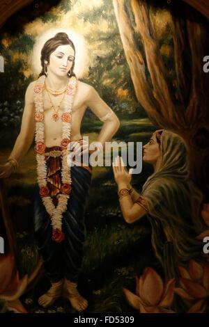 Painting in the London ISKCON hindu temple : Balaram & Yamuna devi - Stock Photo