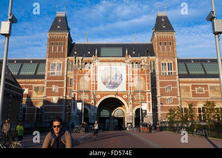 The Rijksmuseum is a Dutch national museum dedicated to arts & history in Amsterdam. Located at the Museum Square - Stock Photo