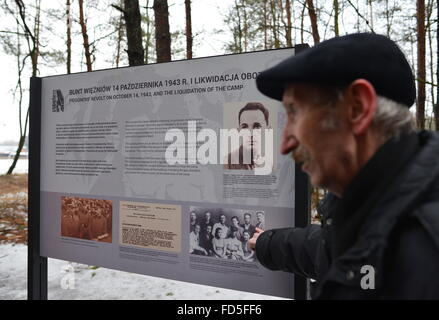 Sobibor, Poland. 27th Jan, 2016. An old man at the site of the former Sobibor extermination camp. © Alexei Vitvitsky/TASS/Alamy Live News