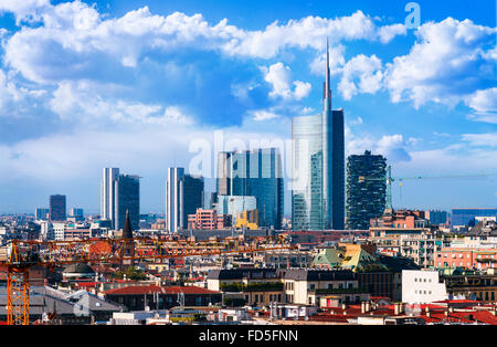 Milan, view on the skyline from the Duomo, Lombardia, Italy - Stock Photo
