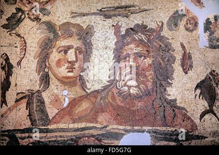 Roman Floor Mosaic (c4th) of Oceanus, Greek God of the Sea, and his Consort, the Goddess Tethys, in Greek Mythology - Stock Photo