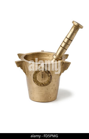 Traditional Moroccan Mortar and pestle on white background - Stock Photo