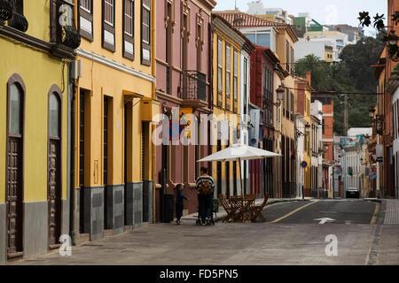 Colourful facades of houses in San Cristóbal de La Laguna on Tenerife, Spain. The town is a UNESCO World Heritage - Stock Photo