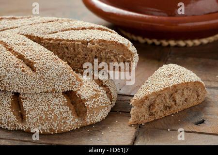 Fresh baked Moroccan semolina bread - Stock Photo