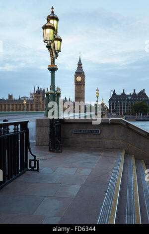 Big Ben and bridge, nobody in the early morning in London, natural colors and lights - Stock Photo