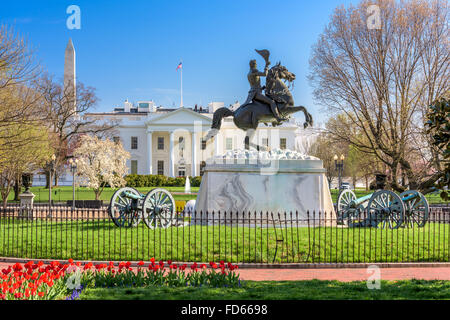 Washington, DC at the White House and Lafayette Square. - Stock Photo