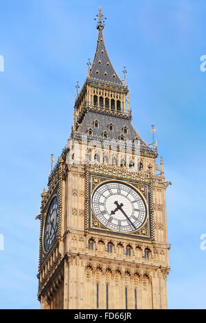 Big Ben close up in London, blue sky - Stock Photo