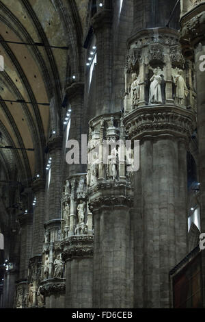 Interior of the Milan Cathedral (Duomo di Milano) in Milan, Lombardy, Italy. - Stock Photo