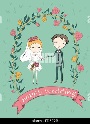 Bride and groom under an flower arch. Wedding hand drawn card. Vector illustration. - Stock Photo