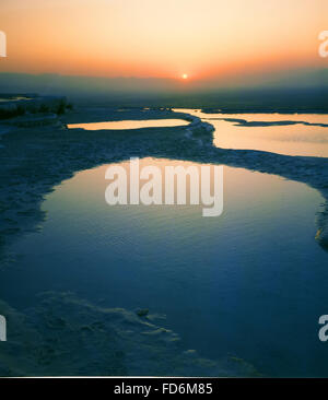 Pamukkale limestone terraces -Turkey - Stock Photo