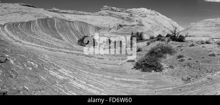 A striking view of layered sandstone near Zebra Slot, along Harris Wash, Grand Staircase-Escalante National Monument, - Stock Photo