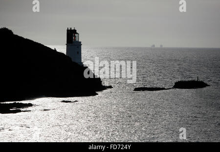 St Anthony's Lighthouse stands on St Anthony Head, near Falmouth in Cornwall, Britain January 5, 2013. Photograph - Stock Photo