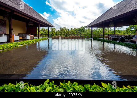 Hotel complex in a good city hotel in Ubud, palm trees, water surfaces, Ubud, Bali, Indonesia, Asia - Stock Photo