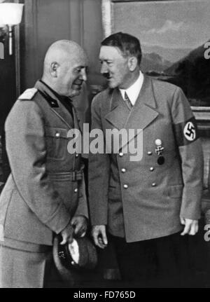 Benito Mussolini with Adolf Hitler in Munich, 1938 - Stock Photo