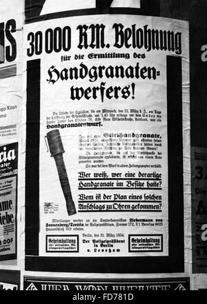 Police poster after a hand grenade attack in Berlin, 1934 - Stock Photo