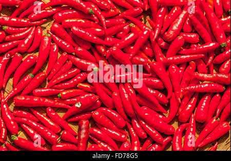 Chilli or chilli or hot peppers (Capsicum sp.), Red peppers drying in the sun, Ubud, Bali, Indonesia, Asia - Stock Photo