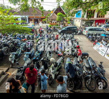 Motorcycle parking, motorcycles, street scene, scooter in a parking lot for rent in Ubud, Ubud, Bali, Indonesia, - Stock Photo