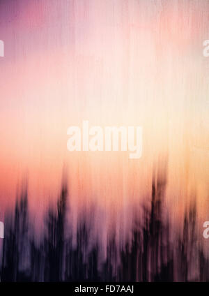 Abstract artistic background, creative cinematic photo of dark forest over sunset, mysterious scary picture - Stock Photo