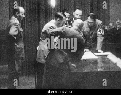 Mussolini, Hitler, Ciano, Himmler and Hess at the Munich Conference, 1938 - Stock Photo