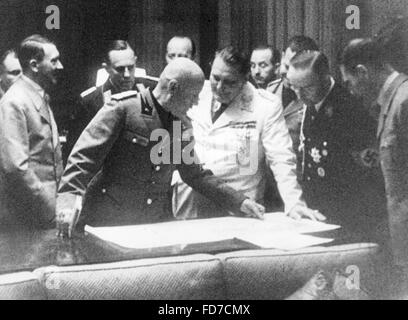 Hitler, Mussolini, Goering, Ciano, Himmler and Hess at the negotiating table during the Munich Conference, 1938 - Stock Photo