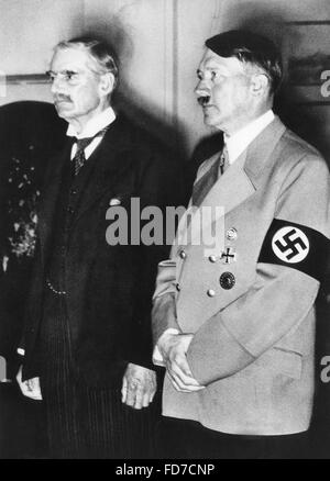 Arthur Neville Chamberlain and Adolf Hitler in Munich, 1938 - Stock Photo