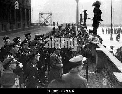 Werner Waechter at a propaganda march to the Reichstag elections 1936 - Stock Photo