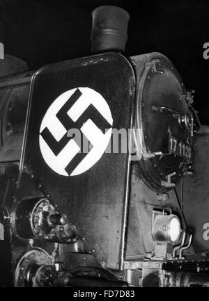 Election propaganda of the Reichsbahn for the Reichstag election 1936 - Stock Photo