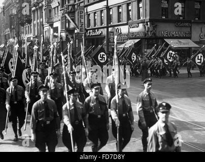 Propaganda march of the DAF for the Reichstag elections 1936 - Stock Photo