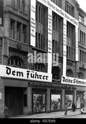Election propaganda of the Reichsbetriebsgemeinschaft Bau for the Reichstag elections 1936 - Stock Photo