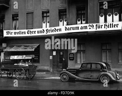 Election propaganda in Berlin for the Reichstag election 1936 - Stock Photo