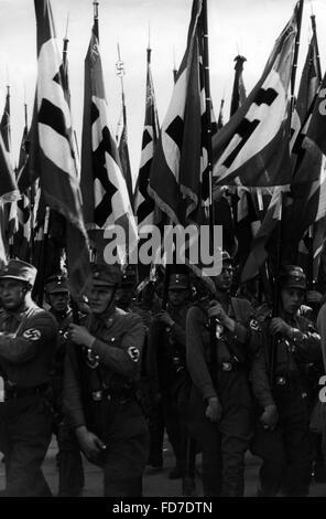 Standards of the SA at the Nuremberg Rally, 1937 - Stock Photo