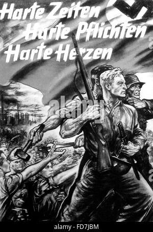National Socialist propaganda poster in World War II - Stock Photo