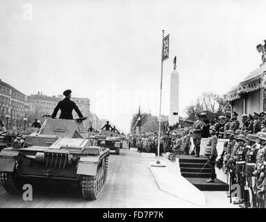 Military parade of the Wehrmacht on the occasion of Hitler's birthday in Berlin, 1939 - Stock Photo