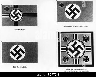 New Reichskriegsflagge (Imperial War Flag) of the German Armed Forces, 1936 - Stock Photo