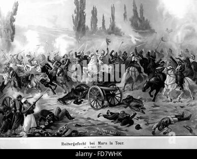 Cavalry fight at Mars la Tour during the Franco-German War, 16.08.1870 - Stock Photo