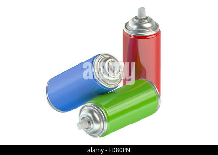 spray paint cans isolated on white background - Stock Photo
