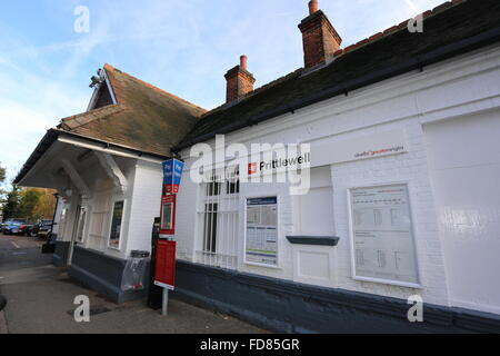 Prittlewell train station in Essex Abellio Greater Anglia AGA platforms entrance track railway station blue sky - Stock Photo