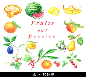 watercolor set fruits and berries isolated on a white background - Stock Photo