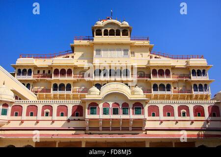 Chandra Mahal seen from Pitam Niwas Chowk, Jaipur City Palace, Rajasthan, India. Palace was the seat of the Maharaja - Stock Photo