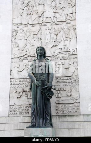 Statue of Lady Justice outside the Court of Law in Porto - Stock Photo