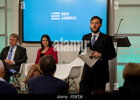 Dveed Gartenstein-Ross speaking on Jihadist Movement conflicts at New America - December 04, 2015, Washington, DC - Stock Photo